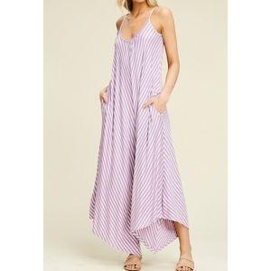 Annabelle Lavender Ivory Chevron Stripe Jumpsuit